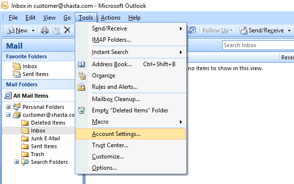 Outlook 2007 Modify Account Step 1