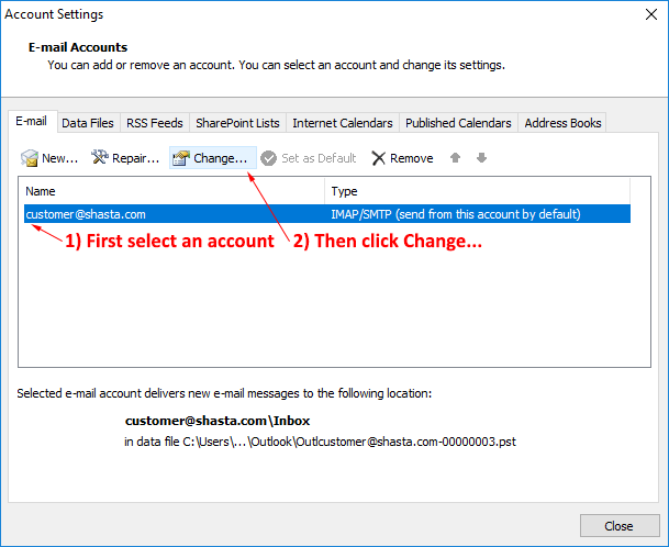 Outlook 2007 Modify Account Step 2