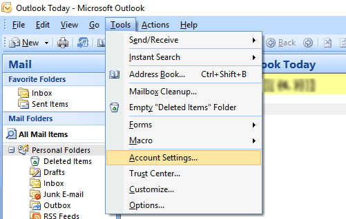 Outlook 2007 Screenshot Step 1