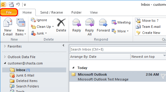 Outlook 2010 Modify Account Step 1