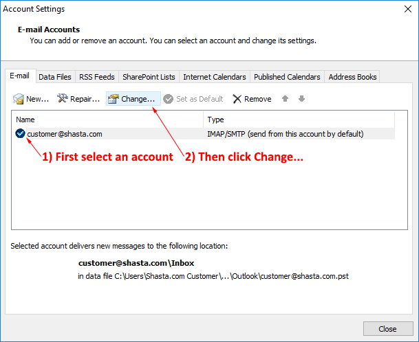 Outlook 2010 Modify Account Step 4