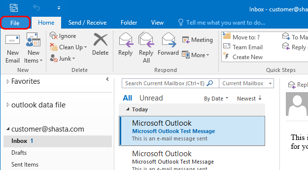 Outlook 2016 Modify Account Step 1