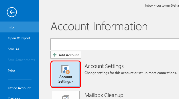 Outlook 2016 Modify Account Step 2