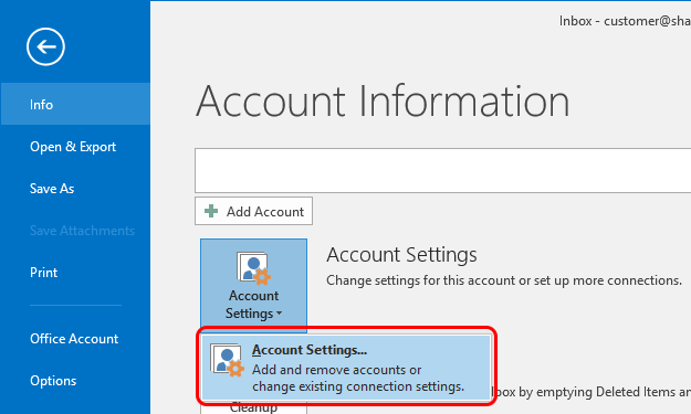 Outlook 2016 Modify Account Step 3