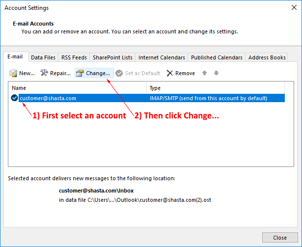 Outlook 2016 Modify Account Step 4