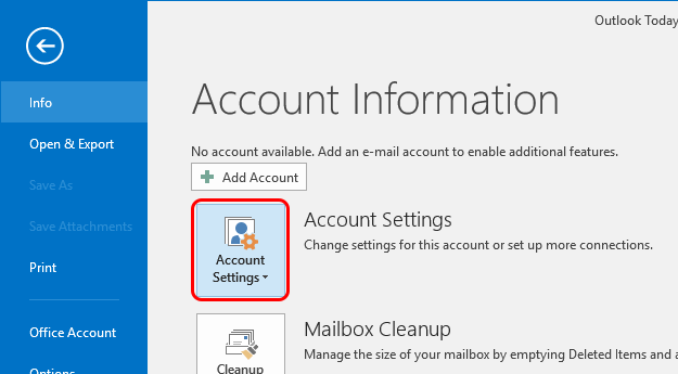 Outlook 2016 Screenshot Step 2