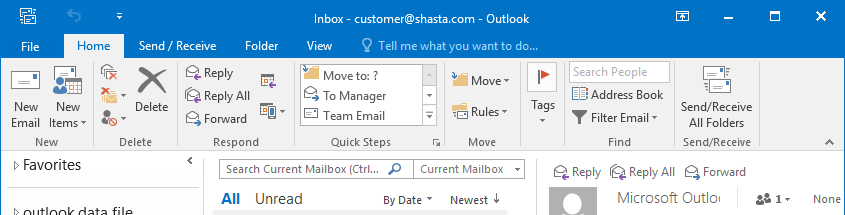 Outlook 2016 Screenshot